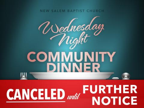 Community Dinner Canceled until Further Notice